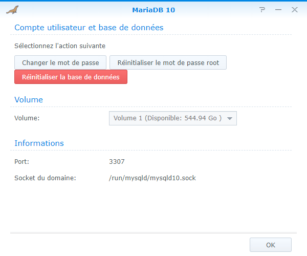 Interface d'administration de MariaDB 10