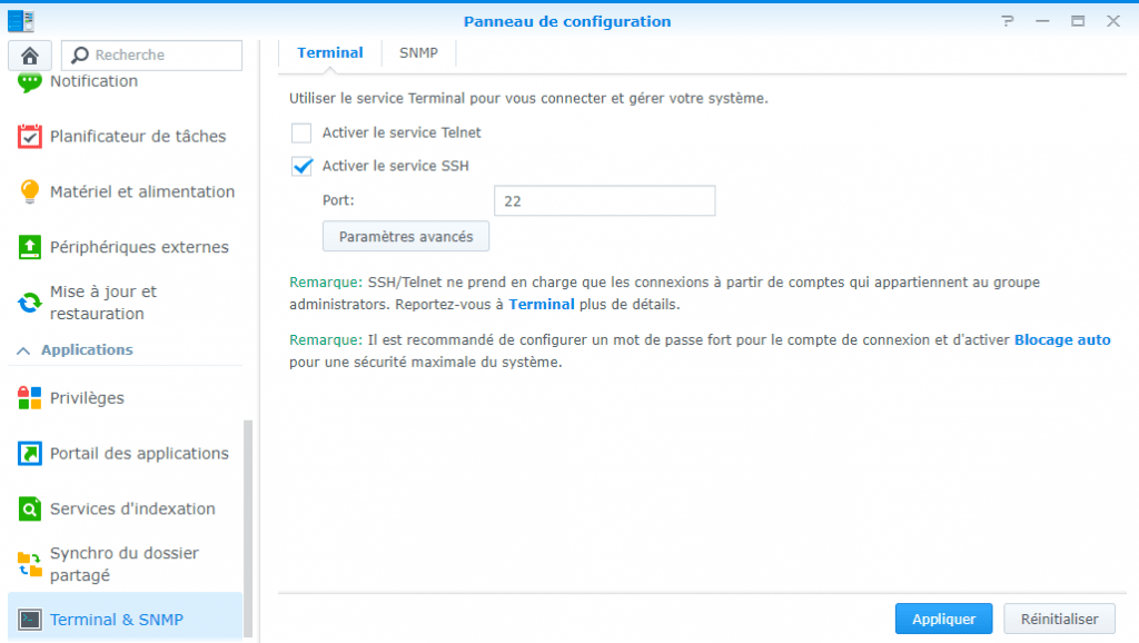Activation du service SSH sur un NAS Synology