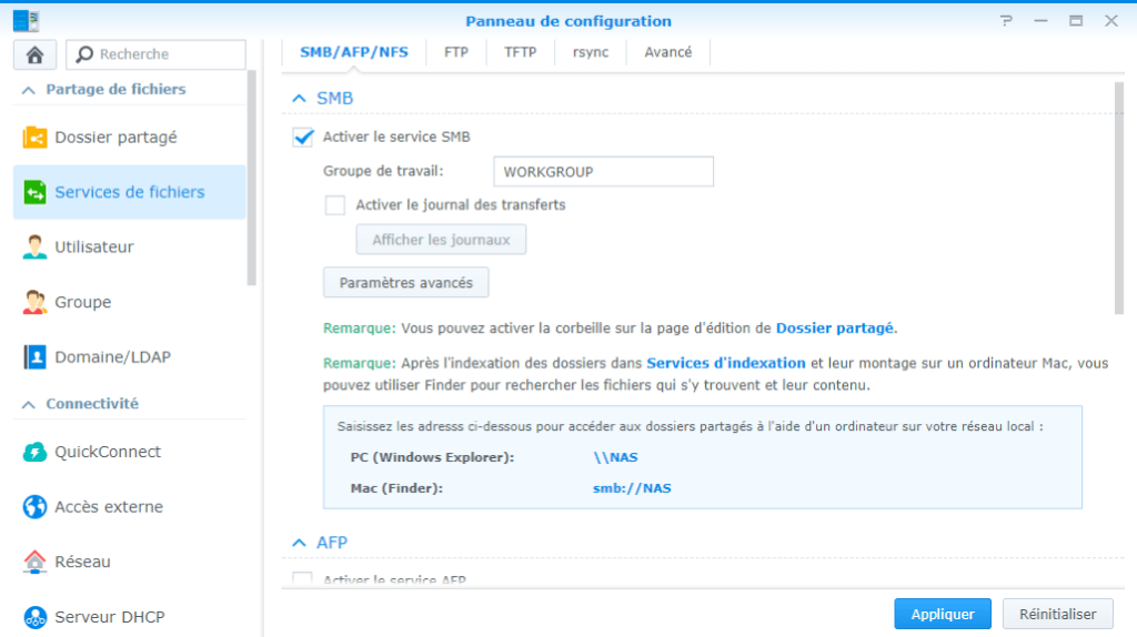 Activation du service de fichier SMB Synology
