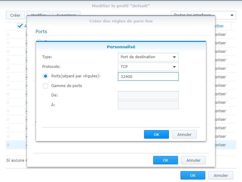 Ouverture des ports utilisés par Plex dans le firewall